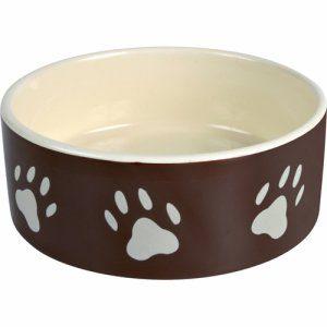 Matskål keramikk brun med poter