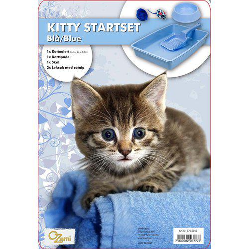 Startsett katt-toalett-leke-spade-skål