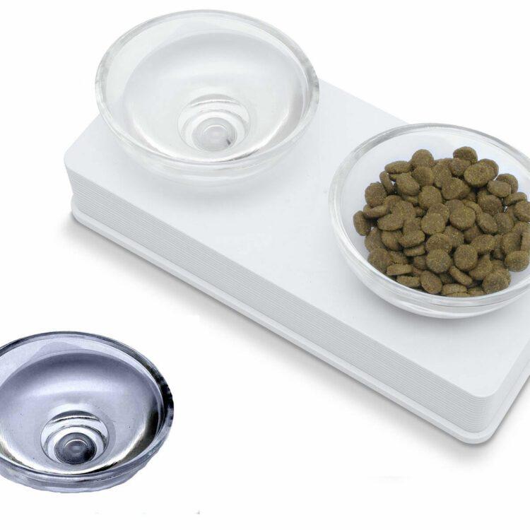 Skåler i glass til katt og små hunder, 2x200ml