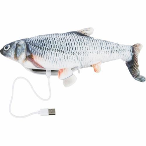 Sprellende fisk katteleke oppladbar med bjelle