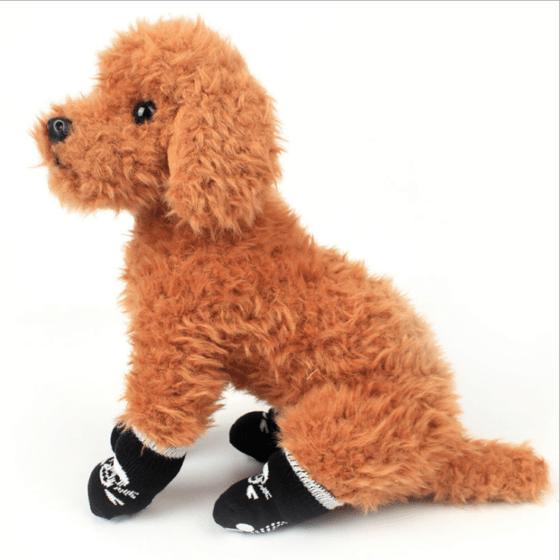 Komfortable Hund og kattesokker/Potesokker/sklisokker Bomull Anti-Skli 4pk