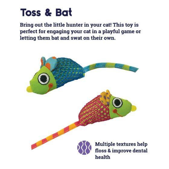 Petstages Catnip Chew Mice Dental Health katteleke catnip mus